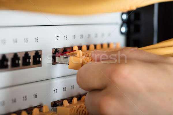 Engineer Plugging Cables Into Server Stock photo © AndreyPopov