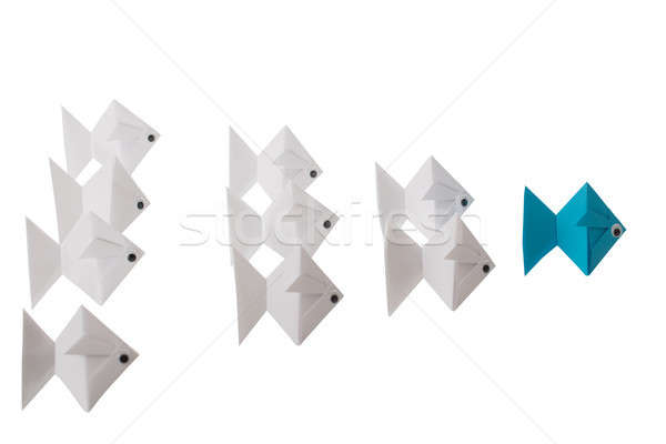 Paper Fishes Behind Blue Fish Stock photo © AndreyPopov