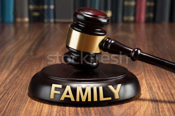 Gabela família texto mesa de madeira madeira Foto stock © AndreyPopov