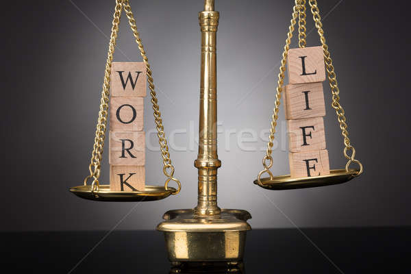 Justice Scale With Wooden Blocks Showing Work And Life Text Stock photo © AndreyPopov