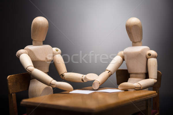 Two Wooden Dummy Figures Making Business Plan Stock photo © AndreyPopov