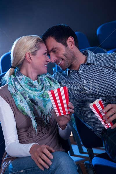 ストックフォト: スタイリッシュ · カップル · ロマンチックな · 瞬間 · 映画 · 劇場