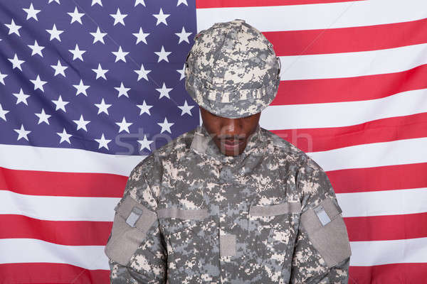 Army Soldier In Front Of American Flag Stock photo © AndreyPopov