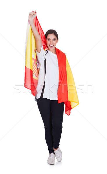 Retrato mujer bandera española feliz mujer bonita Foto stock © AndreyPopov