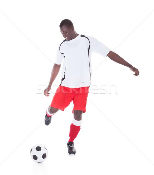 Profi labdarúgó rúg labda boldog afrikai Stock fotó © AndreyPopov