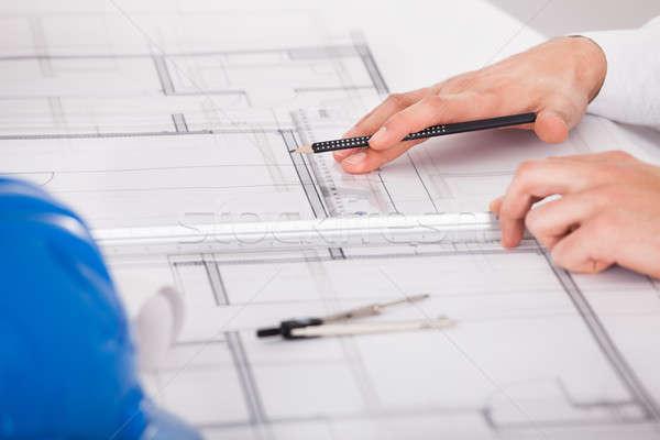 Foto stock: Arquiteto · trabalhando · diagrama · projeto · imagem · mãos