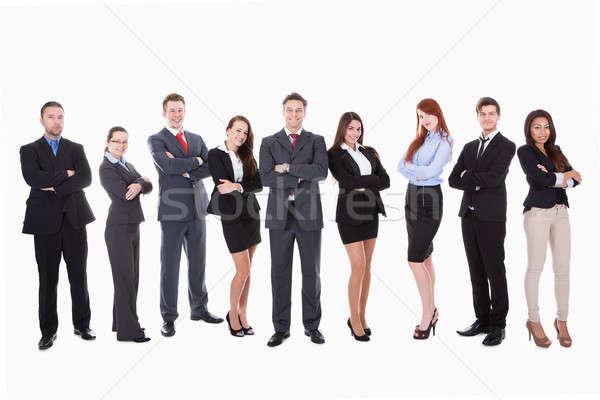 Nagyobb csoport üzletemberek izolált fehér nő boldog Stock fotó © AndreyPopov