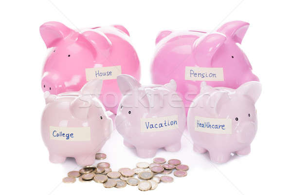 Piggybanks With Various Labels And Coins Stock photo © AndreyPopov