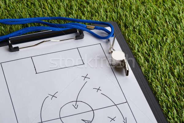 Silbar fútbol táctica diagrama papel portapapeles Foto stock © AndreyPopov