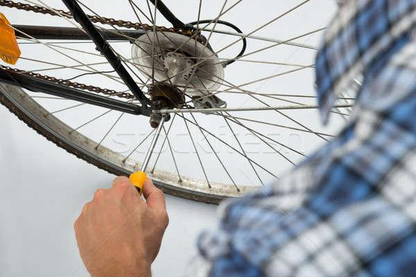 Person Repairing Bicycle Wheel Stock photo © AndreyPopov