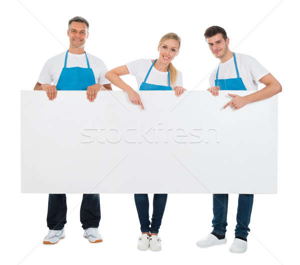 Cartellone gruppo bianco felice segno Foto d'archivio © AndreyPopov