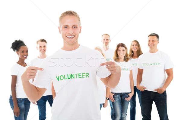 幸せ 男 文字 Tシャツ ストックフォト © AndreyPopov