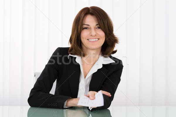 деловая женщина предлагающий проверка счастливым служба Сток-фото © AndreyPopov