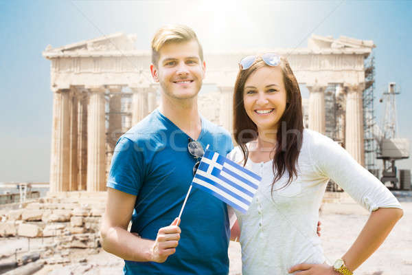 Couple Holding Greek Flag Stock photo © AndreyPopov