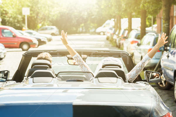 Newlyweds Couple Traveling In The Car Stock photo © AndreyPopov