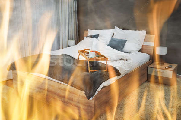 Close-up Of Fire Burning In Bedroom Stock photo © AndreyPopov