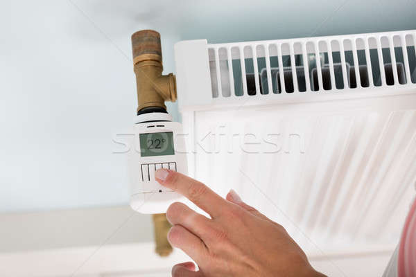 Personne température thermostat personnes main Photo stock © AndreyPopov