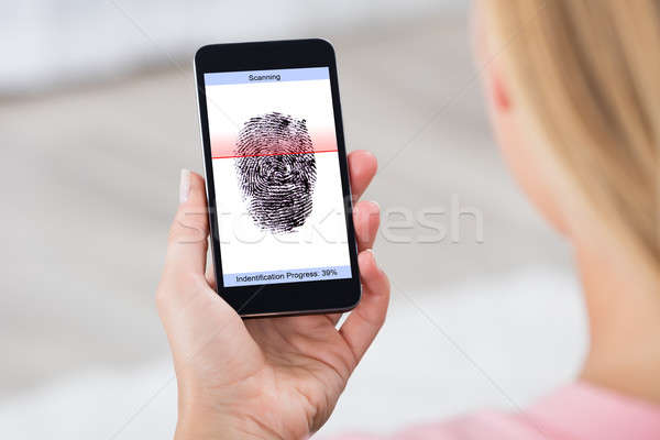 Person With Mobile Phone Showing Fingerprint Scanner Stock photo © AndreyPopov