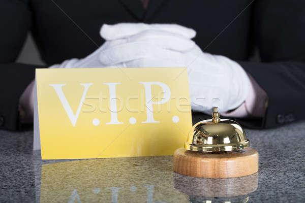 ウェイター サービス 鐘 vip カード クローズアップ ストックフォト © AndreyPopov