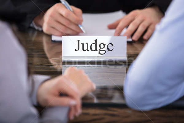 Judge Name Plate On Desk Stock photo © AndreyPopov