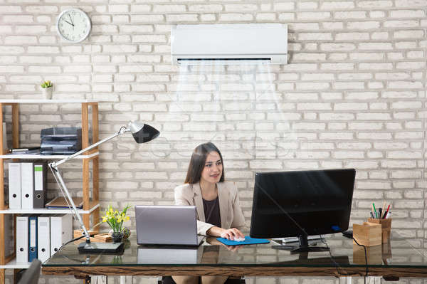 Businesswoman Working In Office With Air Conditioning Stock photo © AndreyPopov