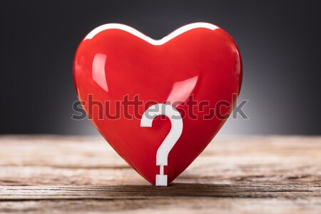 Red Heart And Question Mark With Stethoscope On Wood Stock photo © AndreyPopov