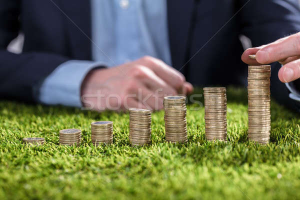 Businessperson Stacking Coins On Grass Stock photo © AndreyPopov