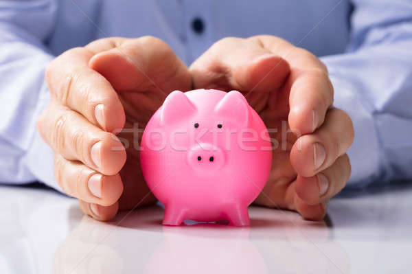 Human Hand Protecting Piggy Bank Stock photo © AndreyPopov