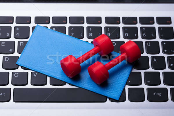 Elevated View Of Dumbbells And Exercise Mat Stock photo © AndreyPopov