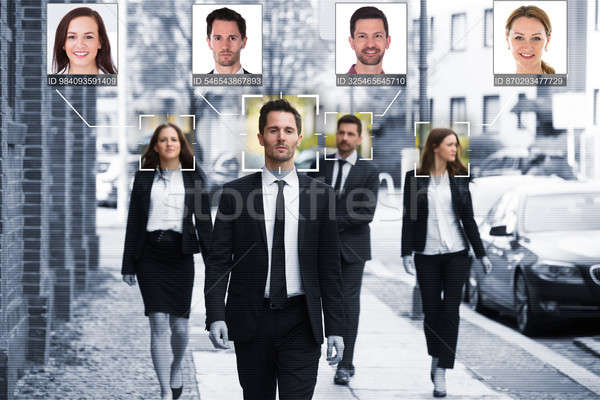 Businesspeople Face Recognized With Intellectual Learning System Stock photo © AndreyPopov