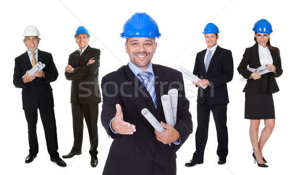 Portrait of happy architect and his team Stock photo © AndreyPopov