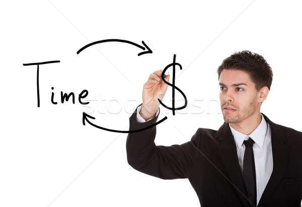 Il tempo è denaro bianco schermo mano sfondo imprenditore Foto d'archivio © AndreyPopov