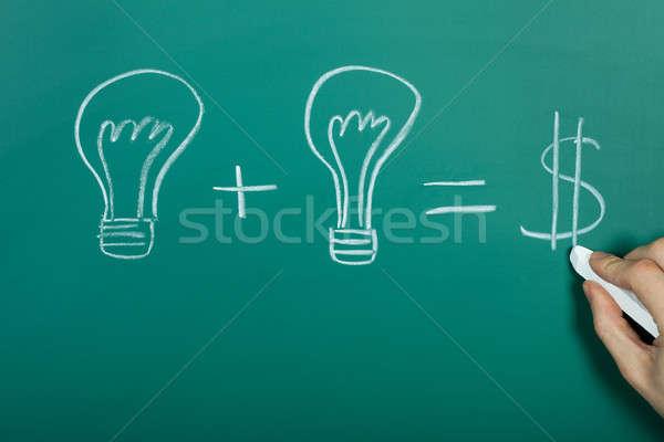 Fikirler nakit kara tahta ışık imzalamak zaman Stok fotoğraf © AndreyPopov