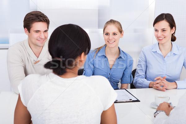 Gelukkig praten kantoor jonge ander Stockfoto © AndreyPopov