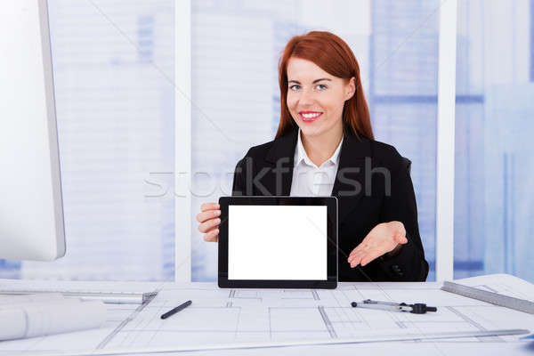Architect Displaying Blank Screen Of Digital Tablet Stock photo © AndreyPopov