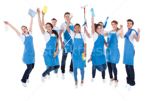 Large excited group of diverse janitors Stock photo © AndreyPopov