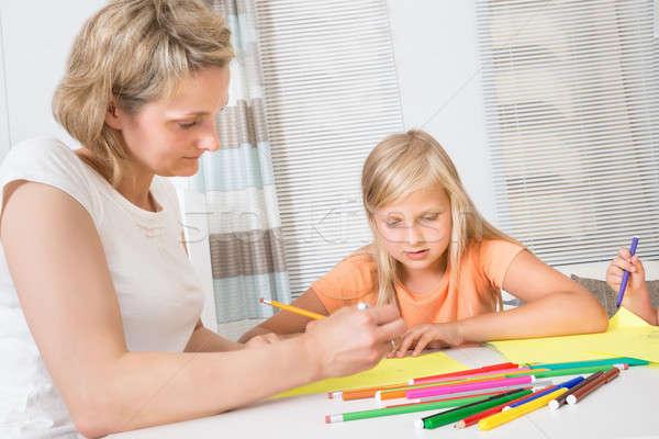 Anne kız çizim birlikte ev çocuklar Stok fotoğraf © AndreyPopov