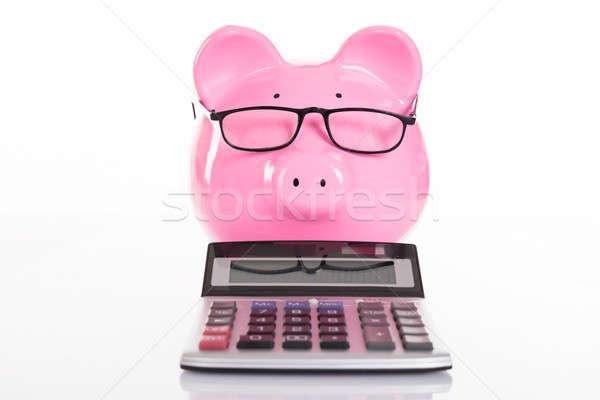 ストックフォト: 会計 · 貯蓄 · 孤立した · 白 · 眼鏡 · 豚