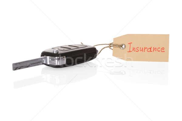 Clé attaché assurance tag blanche Photo stock © AndreyPopov