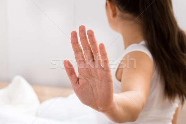 Stock fotó: Nő · készít · stop · kézmozdulat · portré · fiatal · nő