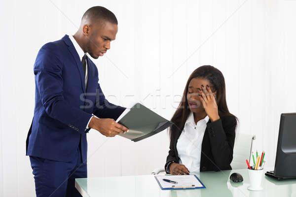 Сток-фото: Boss · документа · женщины · исполнительного · несчастный