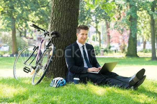 Businessman Using Laptop In Park Stock photo © AndreyPopov