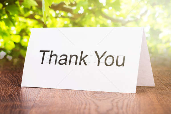 Thank You Card On Wooden Floor Stock photo © AndreyPopov