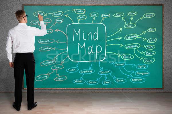 Imprenditore disegno mente mappa vista posteriore verde Foto d'archivio © AndreyPopov