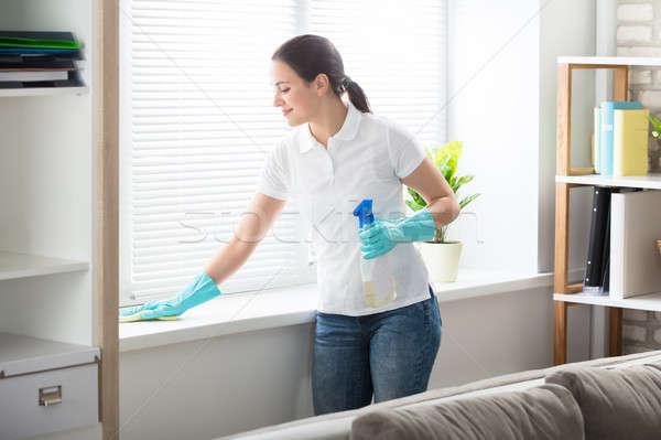 Kobieta czyszczenia okno szmata szczęśliwy młoda kobieta Zdjęcia stock © AndreyPopov