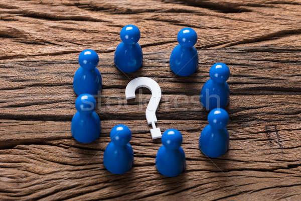 Vraagteken pion hout Blauw ondersteuning Stockfoto © AndreyPopov