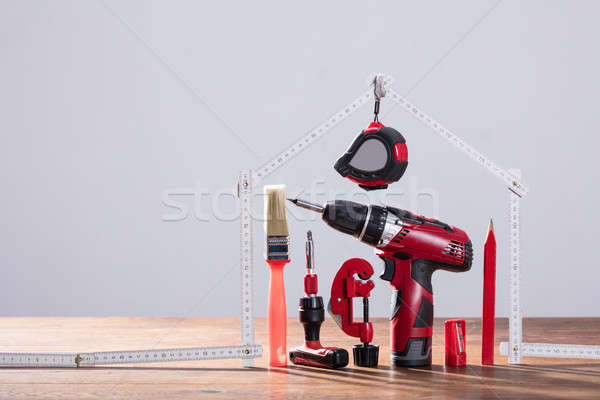 Repairs Tools Under The House Made With Measuring Tape Stock photo © AndreyPopov