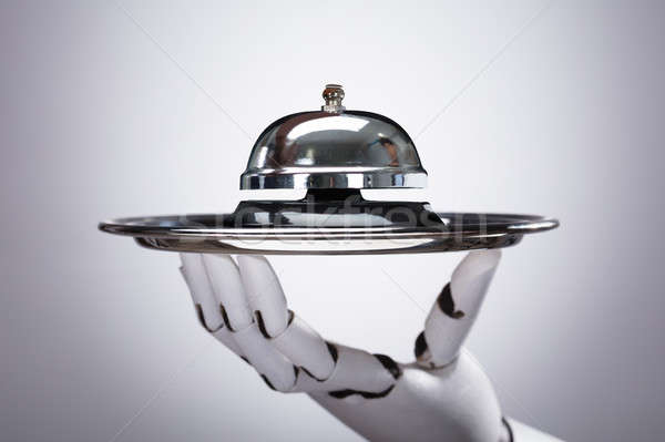 Robot Holding Service Bell In Plate Stock photo © AndreyPopov
