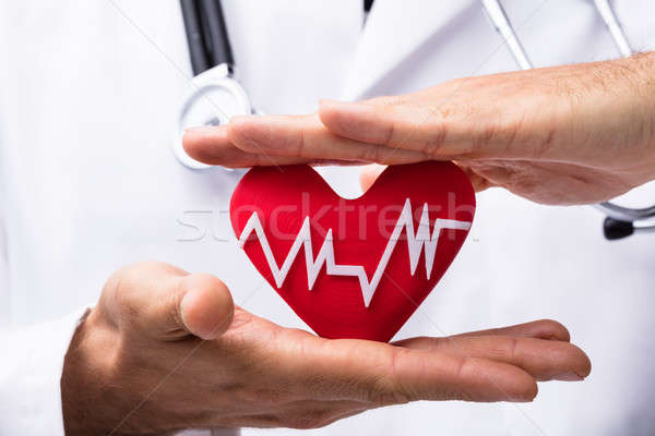 Doctor Protecting Red Heart With Heartbeat Stock photo © AndreyPopov