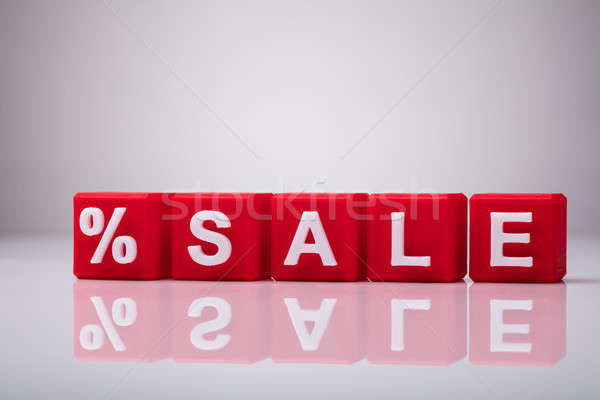 Red Cubic Blocks With Percentage Symbol And Word Sale Stock photo © AndreyPopov